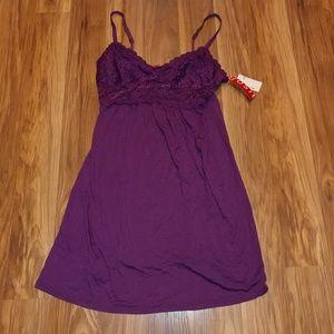 Josie natori XS Babydoll lingerie gown purple lace
